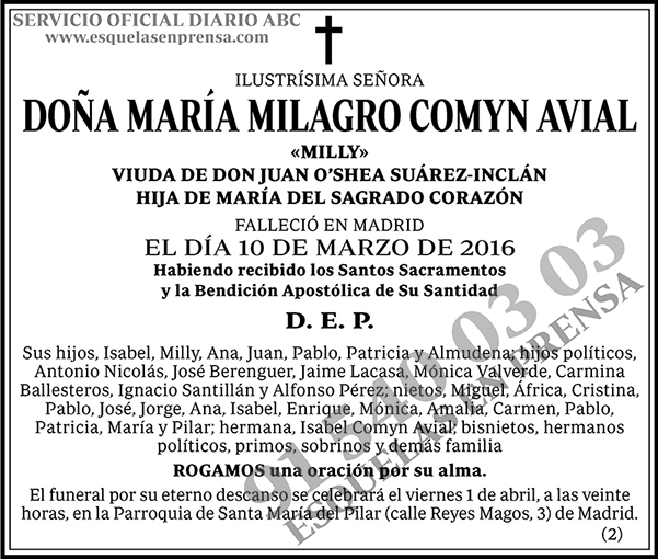 María Milagro Comyn Avial